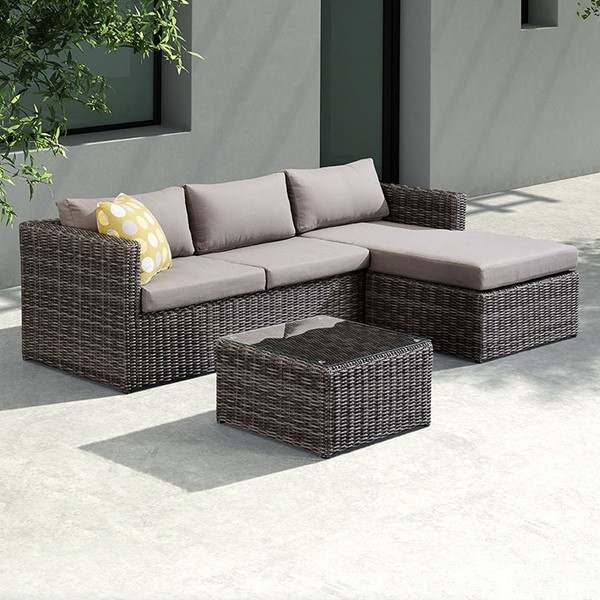 Armen Living Hagen Brown 3pc Outdoor Rattan Sectional Chase Set ARM-SETODHA3SE