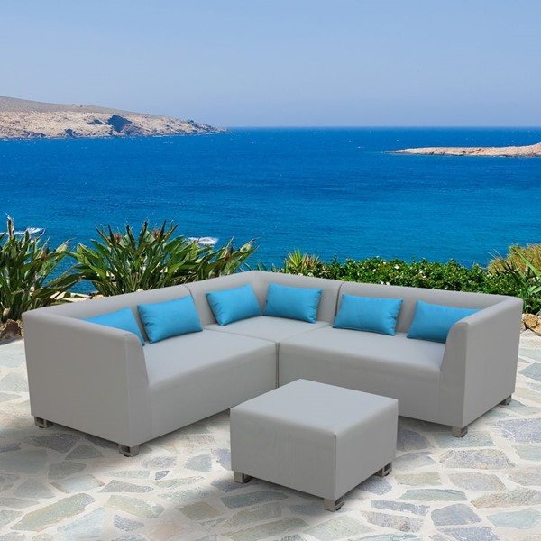 Armen Living Lagoon Taupe 4pc Outdoor Textilene Sectional Set ARM-SETODLA4