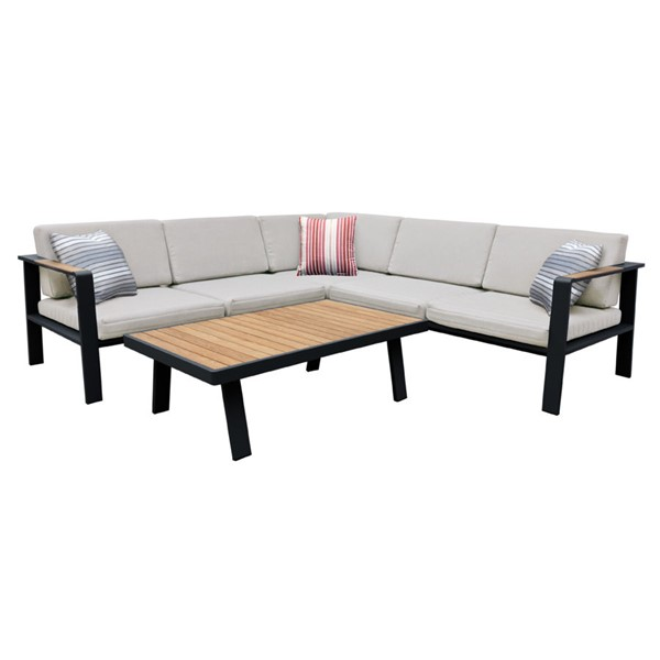 Armen Living Nofi Taupe Gray 4pc Outdoor Patio Sectional Set ARM-SETODNOSEBE-OD-SEC-VAR