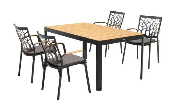 Armen Living Portals Natural Teak Wood Black Frame Outdoor 5pc Dining Table Set ARM-SETODPDDI