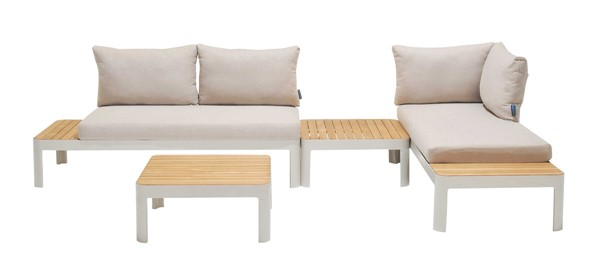 Armen Living Portals Natural Teak Wood Light Matte Sand Frame Outdoor 4pc Sofa Set ARM-SETODPLT4AABB