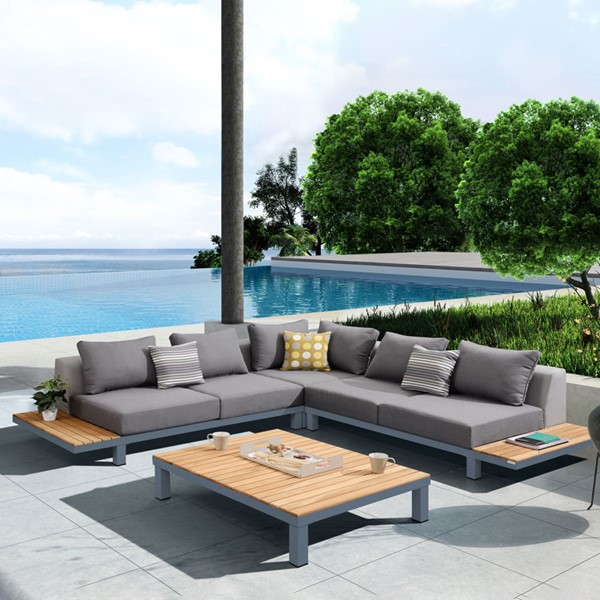 Armen Living Polo Dark Gray 4pc Outdoor Sectional Set ARM-SETODPO4SE