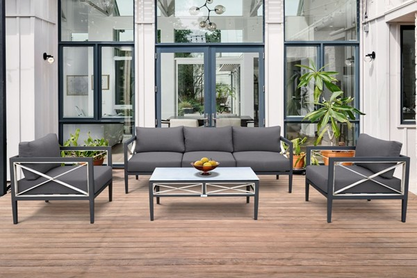 Armen Living Sonoma Dark Grey Charcoal 4pc Outdoor Seating Set ARM-SETODSOCH