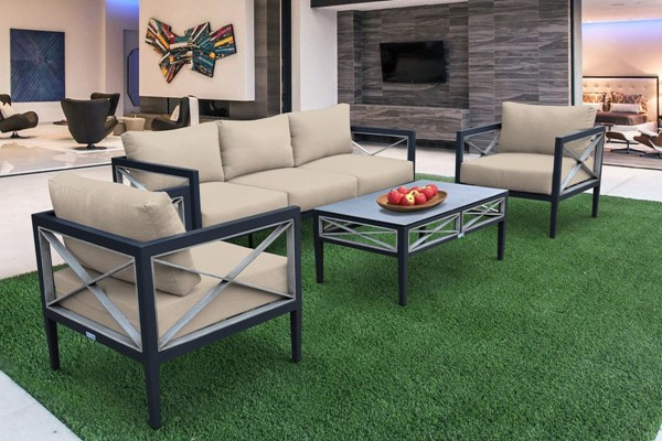Armen Living Sonoma Dark Grey Taupe 4pc Outdoor Seating Set ARM-SETODSOTA