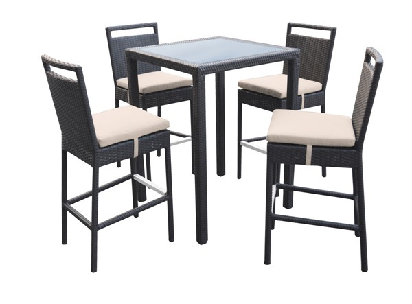 Armen Living Tropez Beige 5pc Outdoor Patio Wicker Bar Set ARM-SETODTRBE