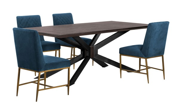Armen Living Pirate Memphis Coffee Black Wood Blue Velvet 5pc Dining Set ARM-SETPIDIAC5A