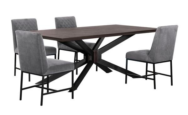 Armen Living Pirate Napoli Coffee Bean Brush Natural Black Grey 5pc Dining Set ARM-SETPIDIAC5D