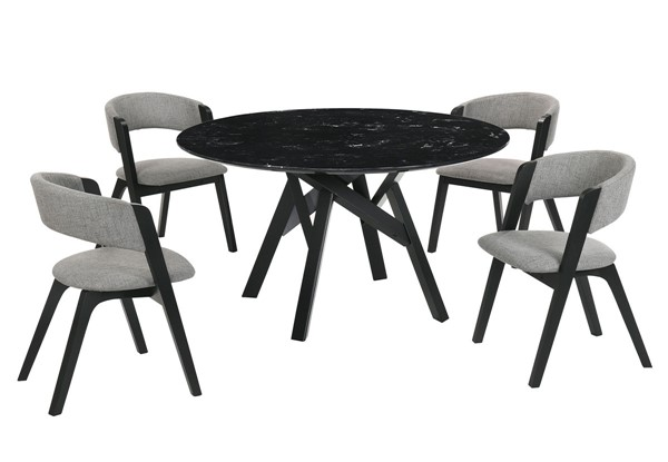 Armen Living Venus Rowan Black Gray 5pc Dining Room Set ARM-SETVEDIBLK5B
