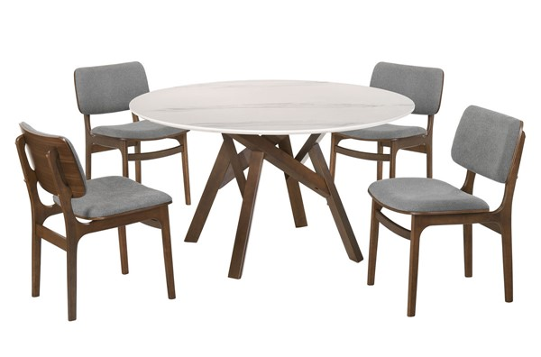 Armen Living Venus Lima Walnut Gray 5pc Dining Room Set ARM-SETVEDIWA5C