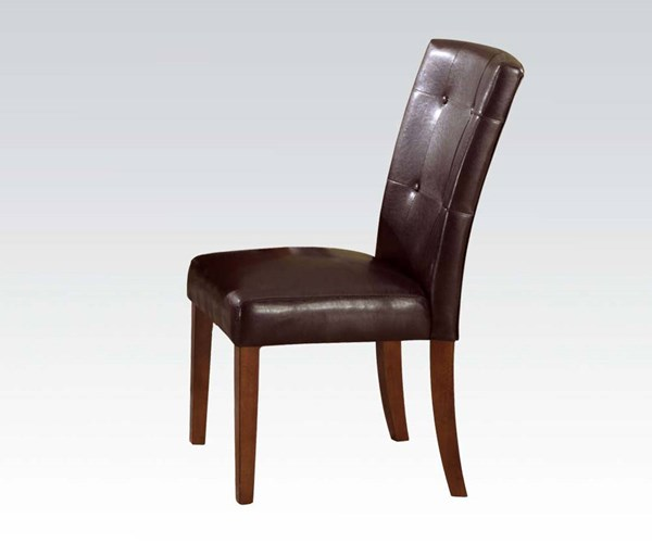 Bologna Transitional Brown Espresso PU Leather Wood Tufted Side Chair ACM-07046