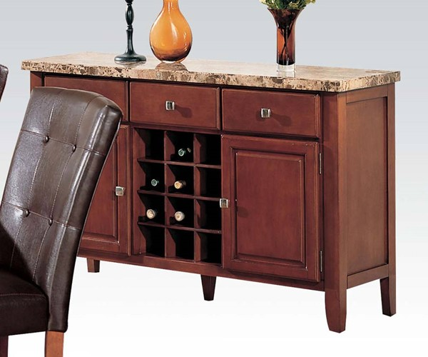 Bologna Brown Cherry Wood Marble Top Server ACM-07047B
