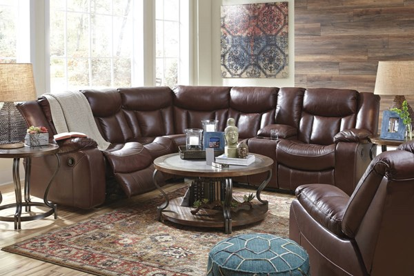 Amaroo Contemporary Brown Leather Living Room Set 136104-LR