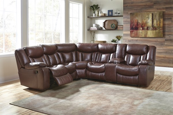 Amaroo Contemporary Brown Leather Sectional W/Console 136104-SEC