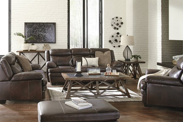Hannalore contemporary cafe leather hardwood living room for Best living room set deals