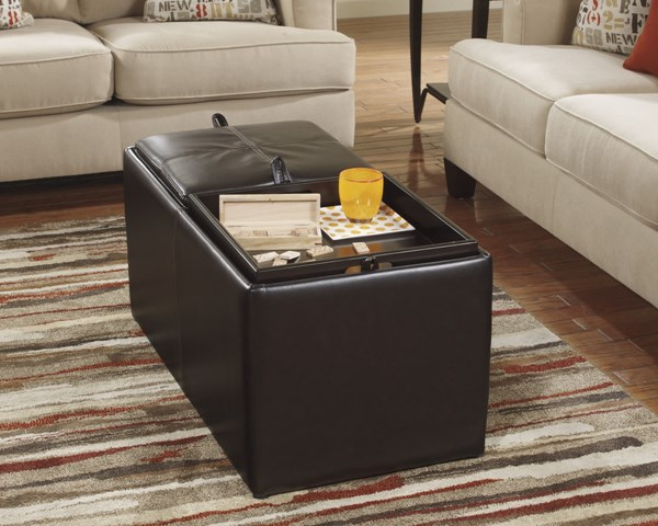 Deshan Accents Chocolate Faux Leather Ottoman With Storage 160XX11