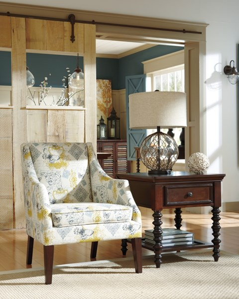 Hindell Park Vintage Casual Putty Solid Back Accent Chair 1680421