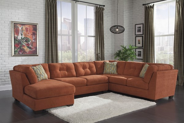 Delta City Contemporary Rust Wood Fabric Tufted Back Sectional 1970116-34-38