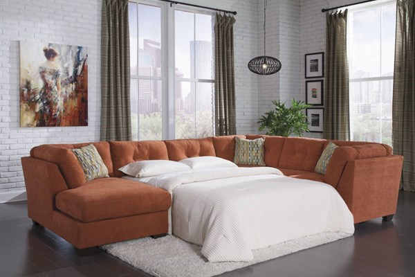 Delta City Rust Fabric Wood Sectional LAF Chaise W/Sleeper 1970171-16