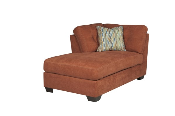 Delta City Contemporary Rust Wood Fabric LAF Corner Chaise 1970116