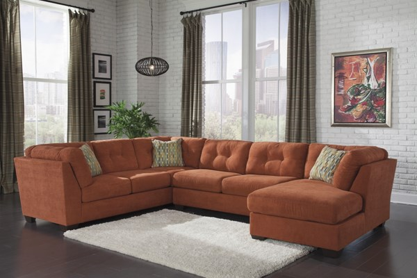 Delta City Contemporary Rust Wood Fabric Sectionals 19701-VER