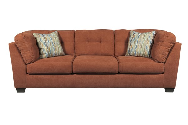Delta City Contemporary Rust Wood Fabric Sofa 1970138