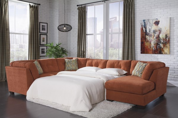 Delta City Contemporary Rust Wood Fabric Sectionals W/Armless Sleeper 19701-VER1