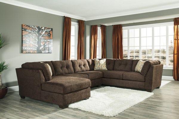 Delta City Contemporary Chocolate Wood Fabric Tufted Back Sectional 19702-16-34-38