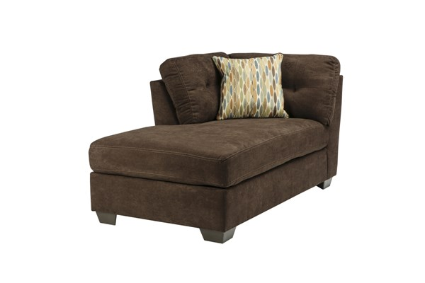 Delta City Contemporary Chocolate Wood Fabric LAF Corner Chaise 1970216