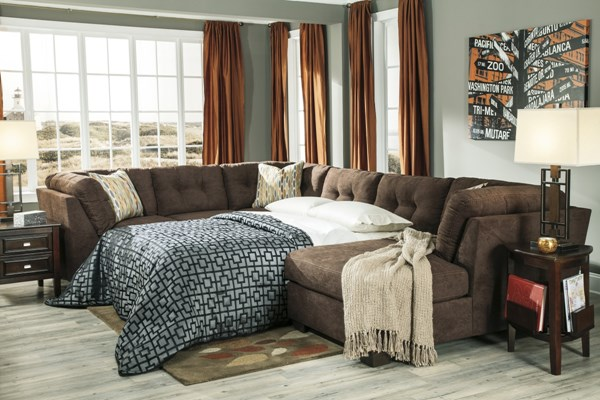 Delta City  Chocolate Wood Fabric Sectional W/Armless Sleeper 19700-SEC-SL-CHO