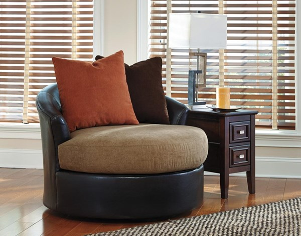 Armant Contemporary Mocha Polyester Swivel Accent Chairs 2020-CH-VAR