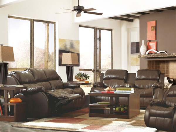 DuraBlend Cafe PU Double Reclining Loveseat 3pc Living Room Set 22200S