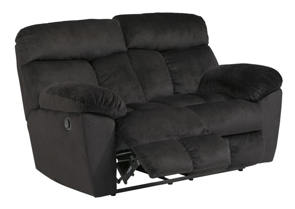 Saul Contemporary Black Fabric Reclining Power Loveseats 22301-LS-VAR