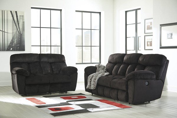 Saul Black Pillow Top Arms & Cushion Back Living Room Set 22301-BNDL