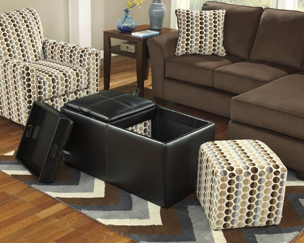 Geordie Contemporary Cafe Faux Leather Ottoman With Storage 2350011