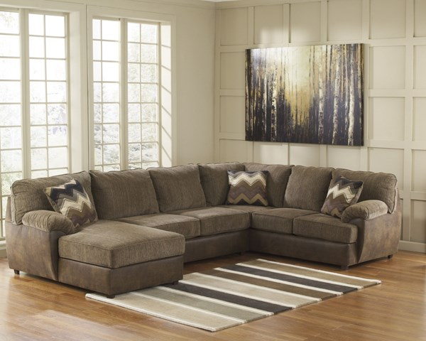 Cladio Contemporary Hickory Wood Fabric Sectionals 2410016-VER
