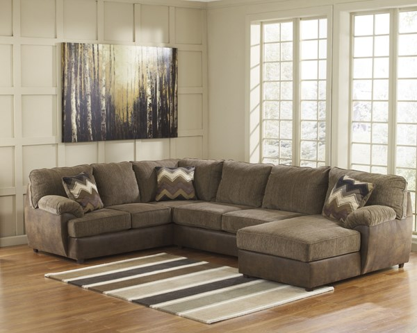 Cladio Contemporary Hickory Wood Fabric Sectional 2410066-34-17-SEC