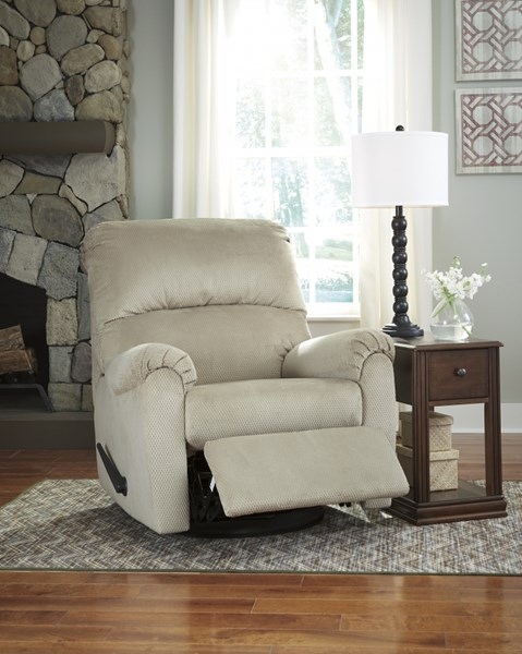 Bronwyn Contemporary Sand Fabric Swivel Glider Recliner 2600361