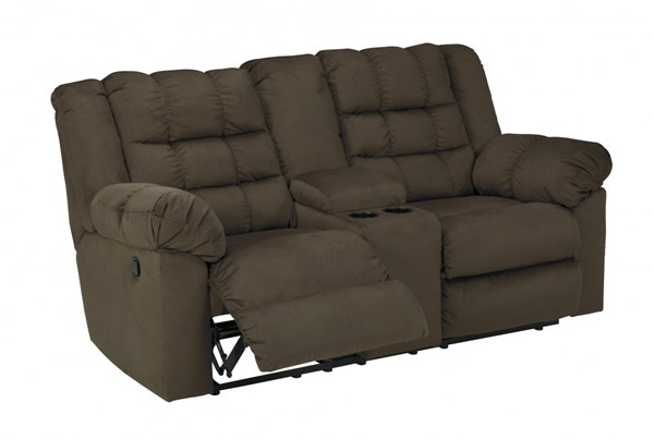 Mort Contemporary Umber Fabric Double Reclining Loveseats W/Console MORT-VAR3