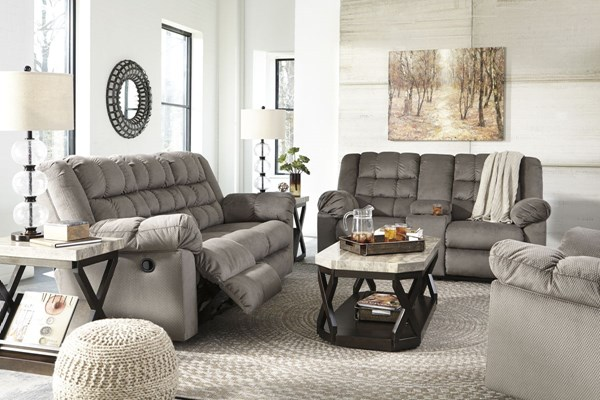 Mort Contemporary Charcoal Fabric 3pc Living Room Set 26105-LR-S1