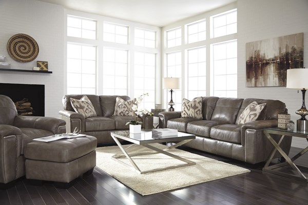 Donnell Contemporary Granite Leather Fabric Living Room Set 26800-LR