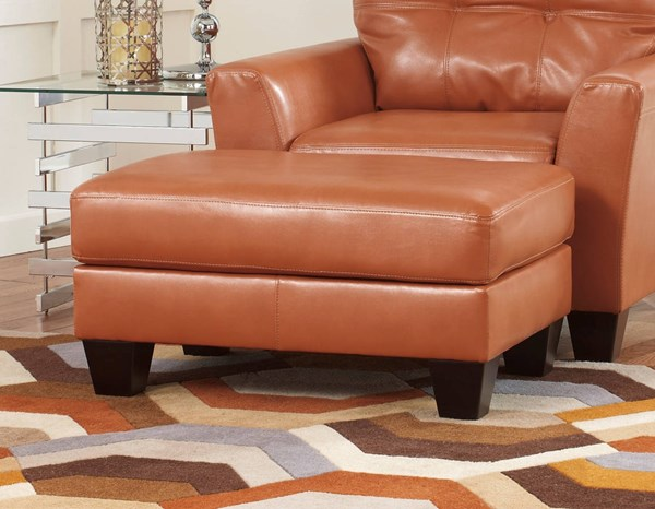Paulie DuraBlend Contemporary Orange Wood PU Ottoman 2700214