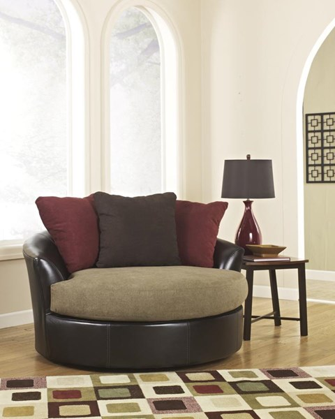 Sanya Contemporary Mocha PU Oversized Swivel Accent Chair 2840021