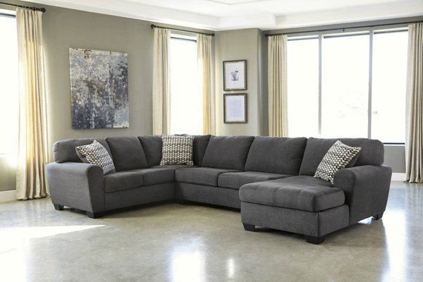Sorenton Slate Sectional W/RAF Chaise & LAF Sofa & Armless Loveseat 28600-SEC1