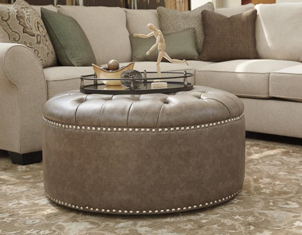 Wilcot Linen Fabric Oversized Accent Ottoman W/Nailheads 2870108