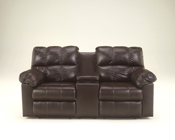 Kennard - Chocolate Fabrics Double Recline Power Loveseat W/Console 2900196