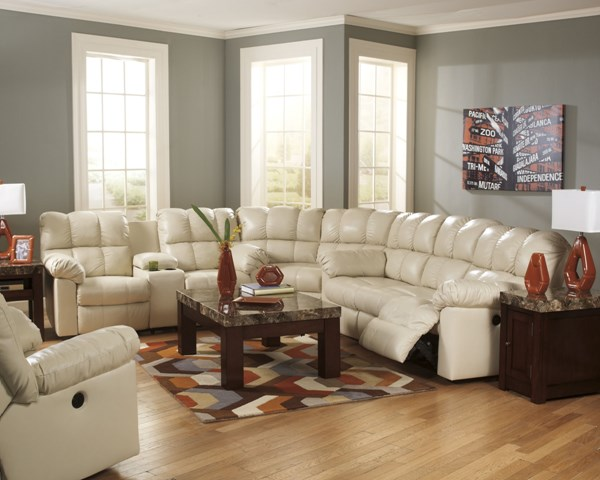 Kennard Contemporary Cream Leather Sectional 2900225-SEC