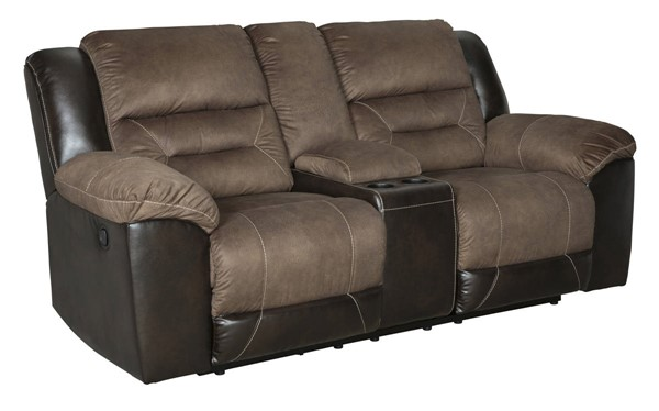 Ashley Furniture Earhart Chestnut Double Reclining Loveseat With Console 2910194