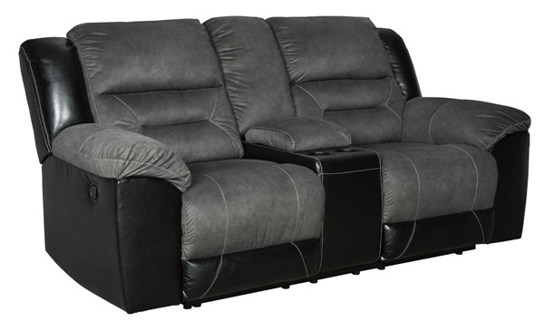 Ashley Furniture Earhart Slate Duble Reclining Loveseat With Console 2910294