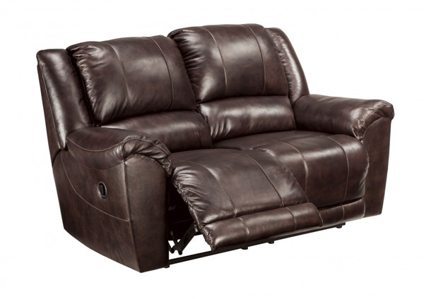 Yancy Contemporary Walnut Grain Leather Vinyl Reclining Power Loveseat 2920074