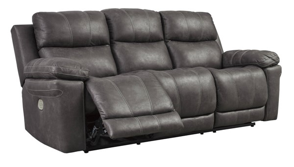 Ashley Furniture Erlangen Midnight Power Reclining Sofa With Adjustable Headrest 3000415